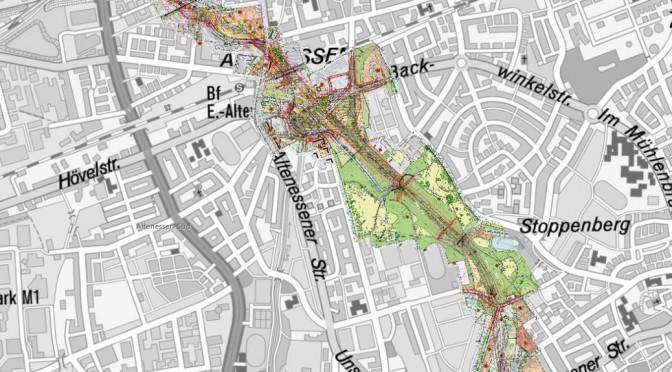 Ausschnitt aus der interaktiven Karte der MWS zur Autobahnplanaung durch den Essener Norden